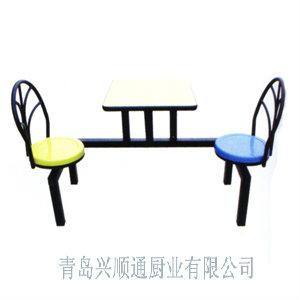 青岛快餐桌-双人靠墙孔雀椅餐桌(可旋转)