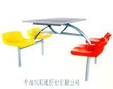 青岛快餐桌-四人全钢弧形低背椅餐桌